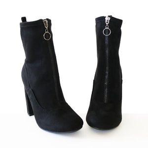 blumen-black-stretch suede-booties